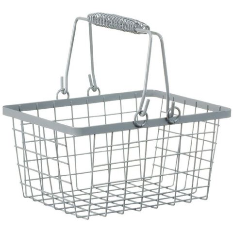 Wire Shopping Basket Storage Grey